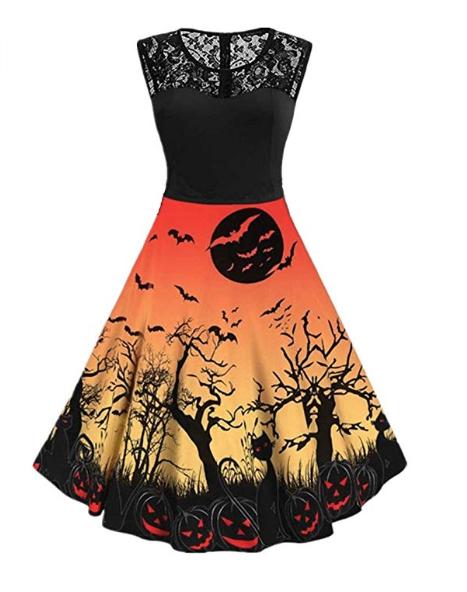 Womens Ladies Spooky Full Sleeve Halloween Skull Cats Skull Party Swing Dress