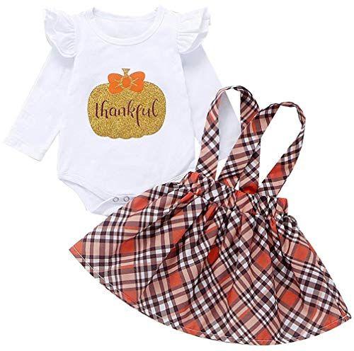 Toddler Kids Baby Girl Thanksgiving Pumpkin Tops+Overalls Skirt+Headband Outfits