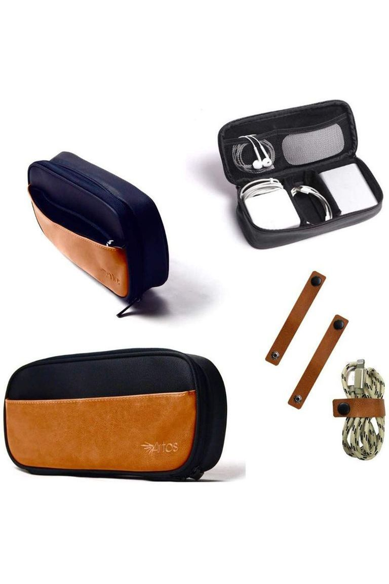 Leather & Canvas Electronic Organizer Case GIFT FOR HIM