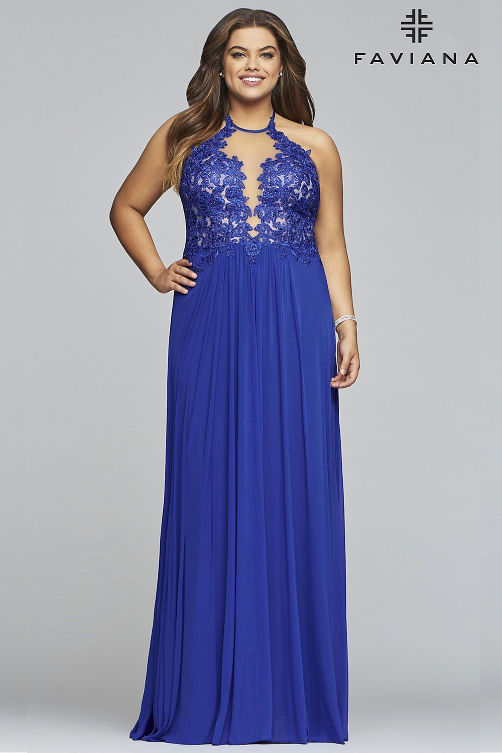 Long Sleeveless Plus-Size Prom Dress