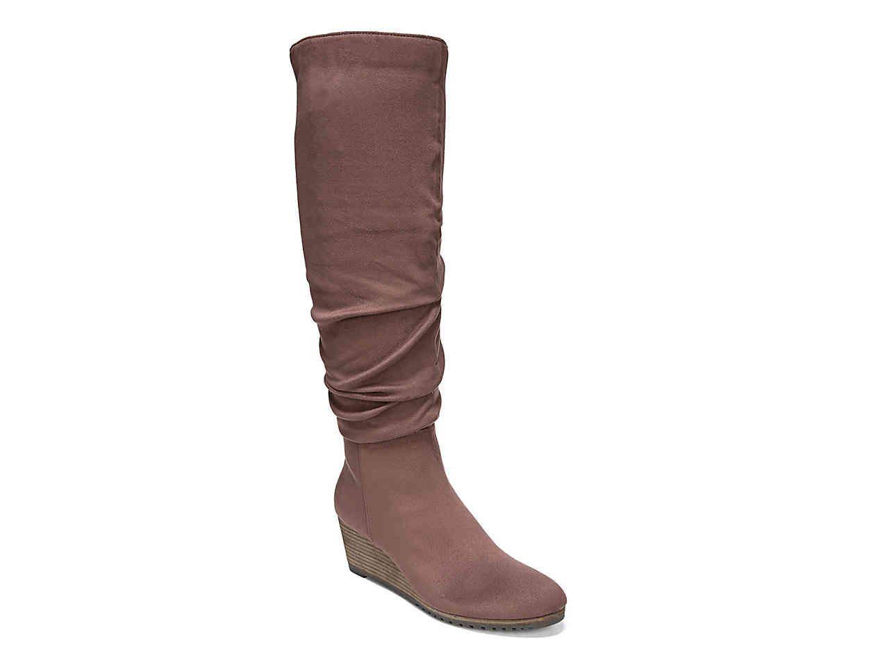 Winter Womens Warm Snow Thicken Boots Fur Trim Knee High Boots Hidden Wedge Heel