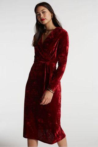 Robe portefeuille en velours froissé
