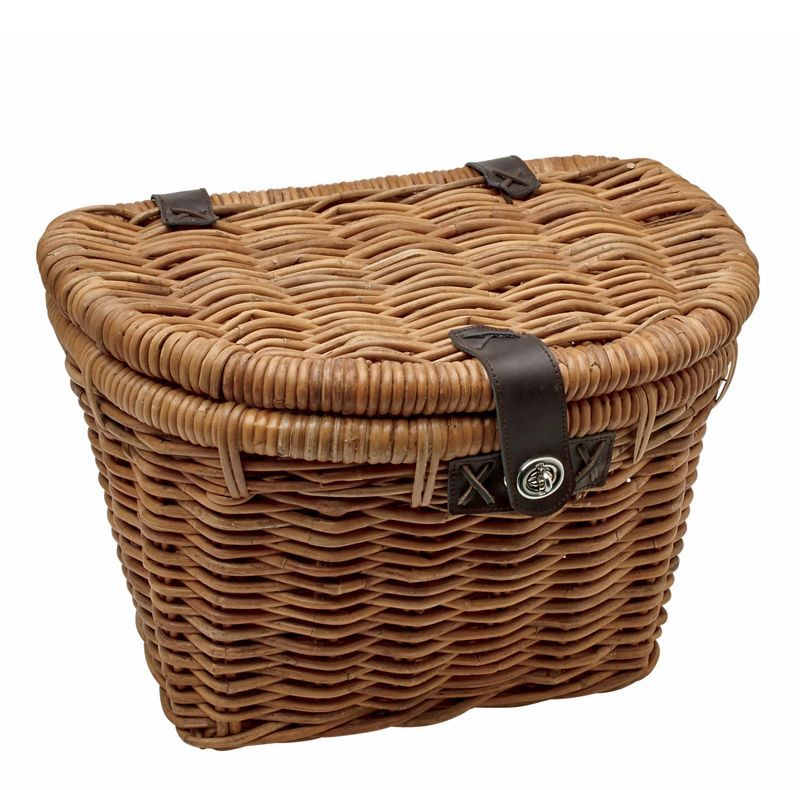 SUNLITE WOODEN CLASSIC DARK BROWN FRONT BICYCLE BASKET W// STRAPS