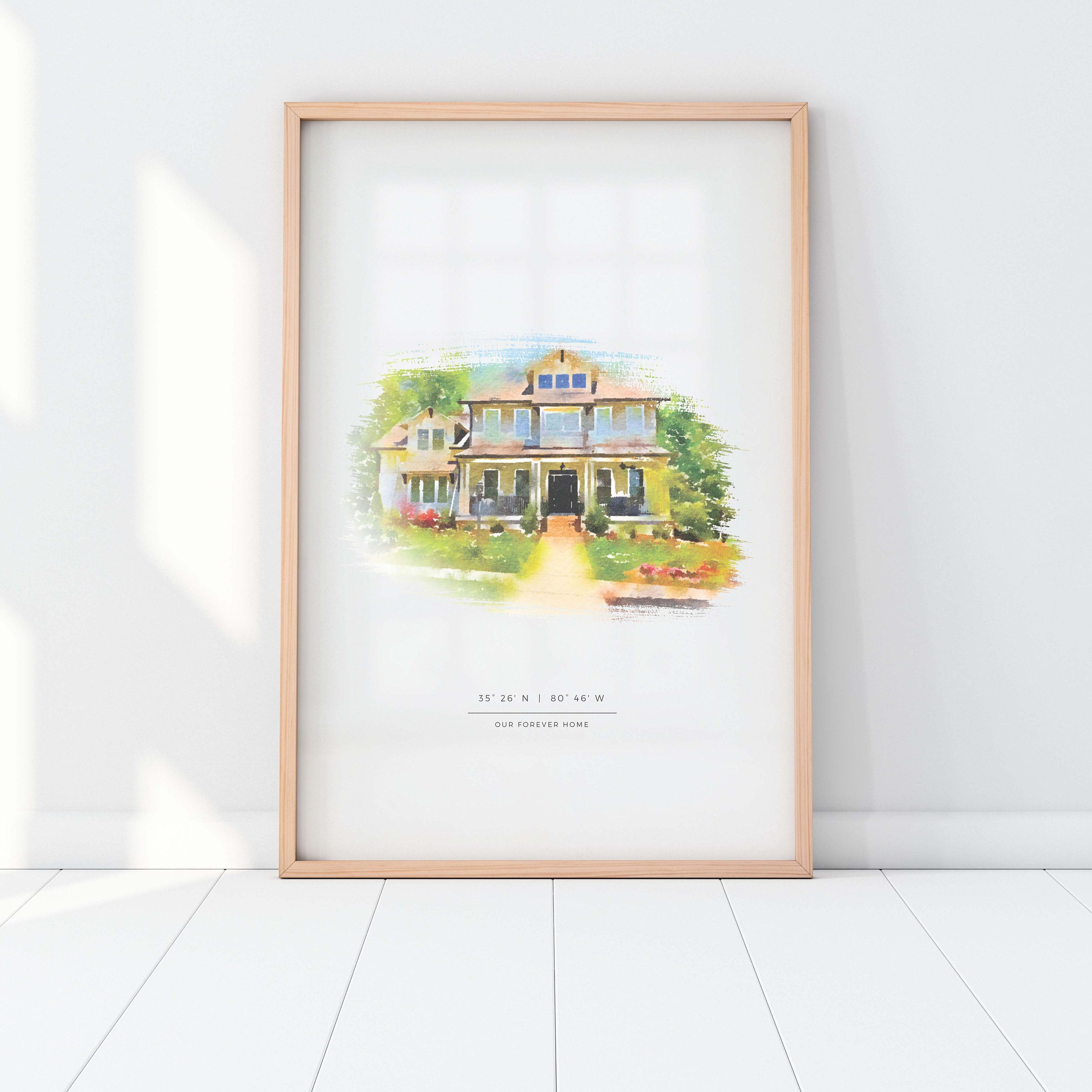 Personalised New Home Print Gift Bespoke Present First Home Front Door House