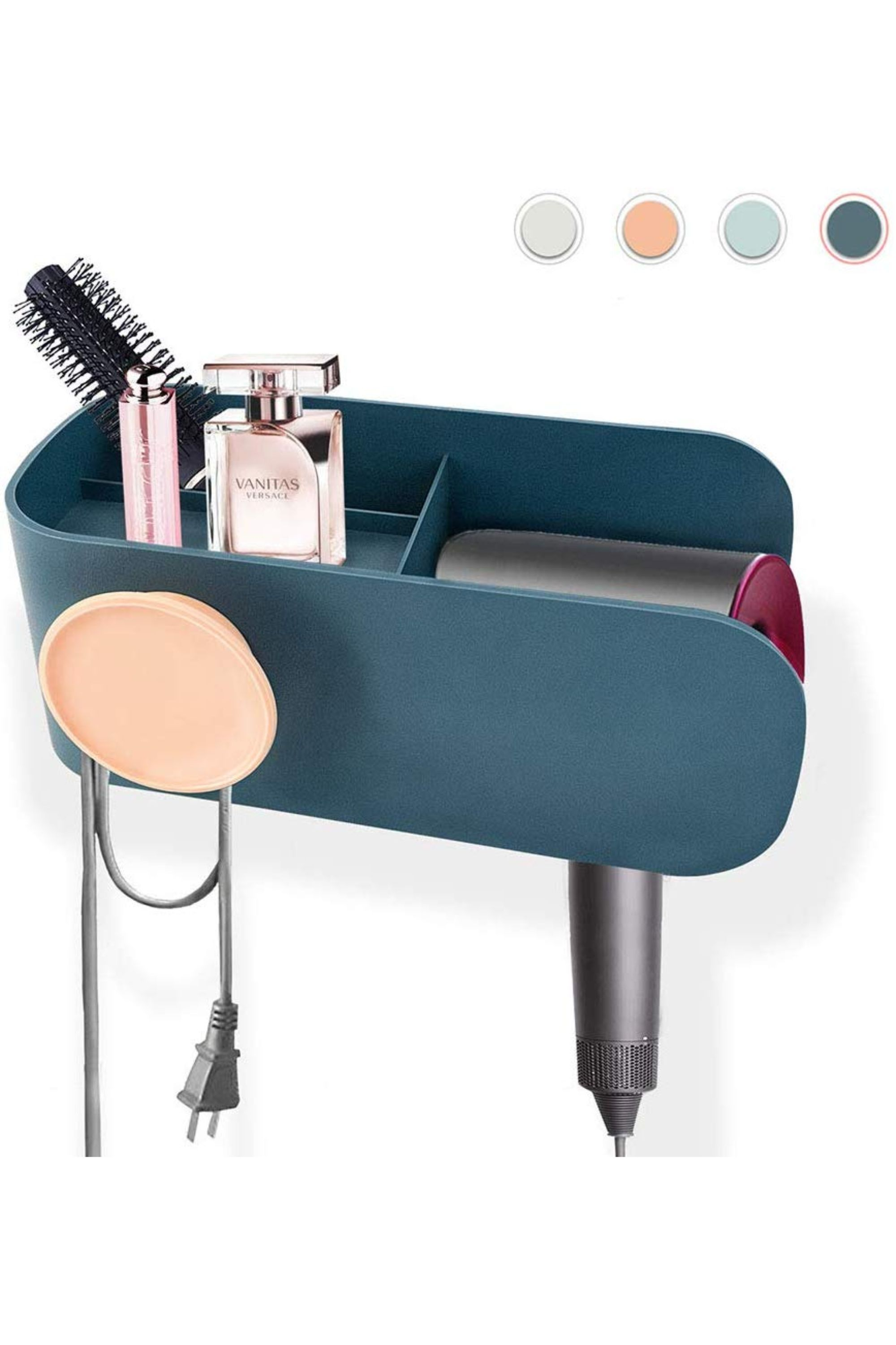Salon Taupe Et Turquoise hair dryer holder, no drilling adhesive wall mount