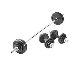 50kg Black Cast Iron Barbell/Dumbbell Set