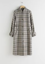 Plaid Check Tailored Coat