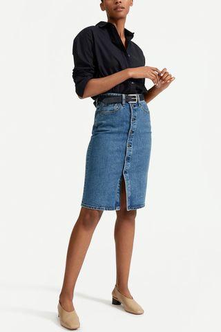 Denim Button-Front Pencil Skirt