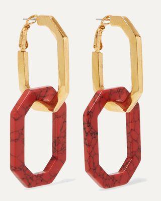 Boucles d'oreilles convertibles or et cornaline