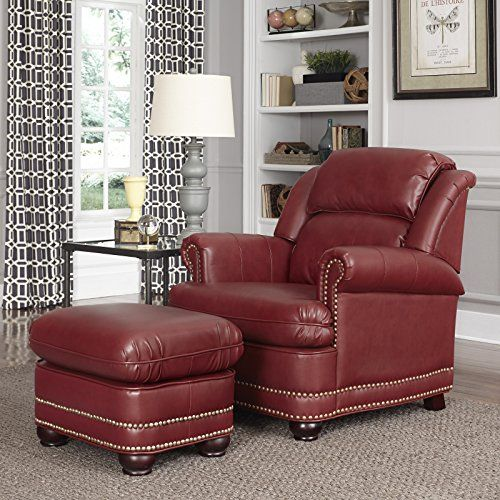 Red Faux Leather Chair and Ottoman
