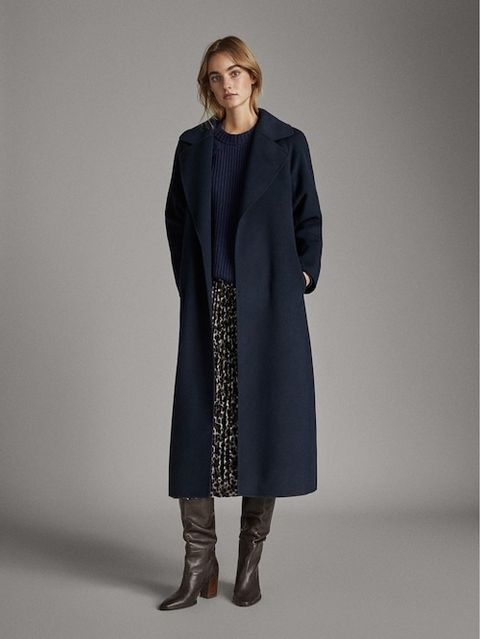 Handmade Navy Blue Wool Coat