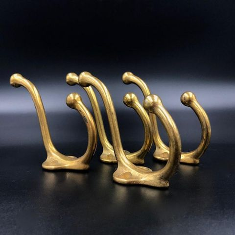 Lot of 4 Matching Vintage Brass Coat Hooks with Two Curved Hangers - One Short, One Long