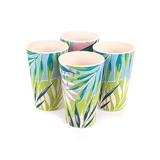 4 tasses de vaisselle écologiques en bambou « Kayan » (comme on le voit sur Love Island)