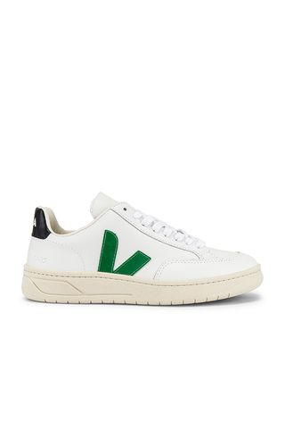 V-12 Sneaker in Extra White and Emerald