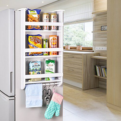طريقة تقسيم أدراج المطبخ - رف التخزين الجانبي للثلاجة