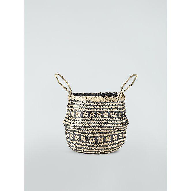 Monochrome Pattern Seagrass Belly Basket