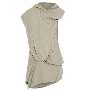 Draped brushed-cotton hoodie