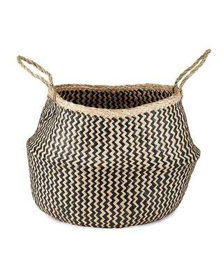 Black & Natural Ekuri Seagrass Basket, Large