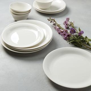 Profile White Porcelain 4-Piece Accent Plate Set