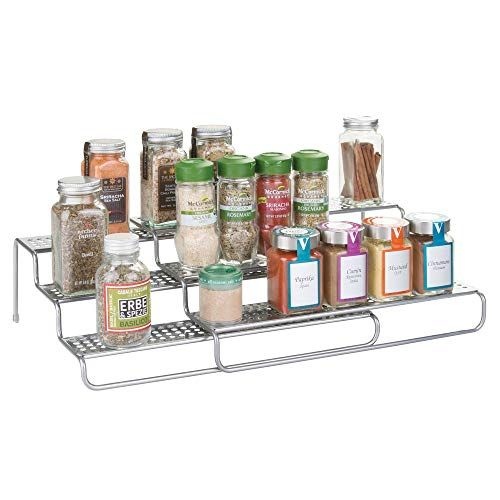 mDesign Especiero giratorio para armario y mesa de cocina transparente Pr/áctico estante para utensilios de cocina Plato giratorio de pl/ástico para especias