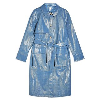 Faux Croc Trench Coat