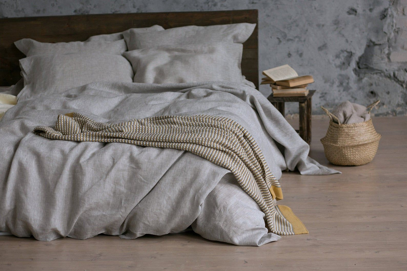 Natural linen bedding in a soothing