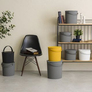 Omnioutil Storage Bucket with Lid - Grey - Large