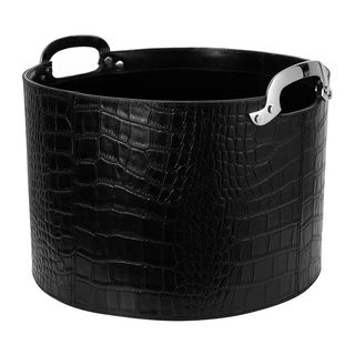 Black Croc Leather Storage Basket