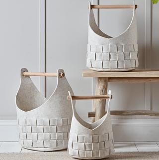 Three Woven Felt Baskets