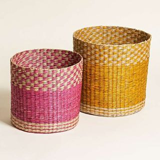 Yellow & Pink Nesting Seagrass Storage Baskets Set of Two