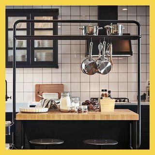 VADHOLMA kitchen island with rack
