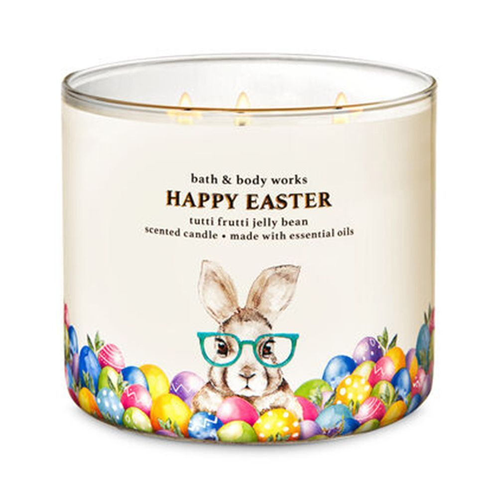 BATH /& BODY WORKS HOPPING EASTER BUNNIES IN FLOWERS CANDLE HOLDER 3 WICK