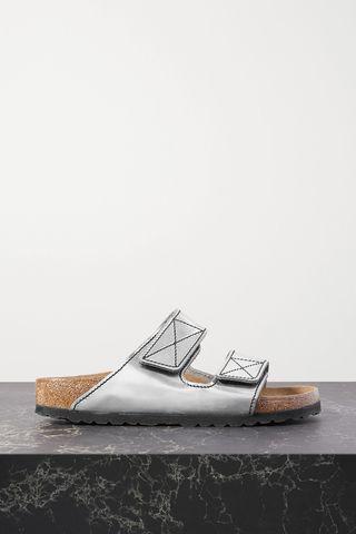 + Birkenstock Arizona topstitched metallic leather sandals