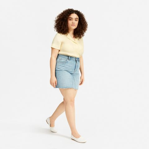 The Reconstructed Denim Skirt - Vintage Light Blue (Raw Hem)