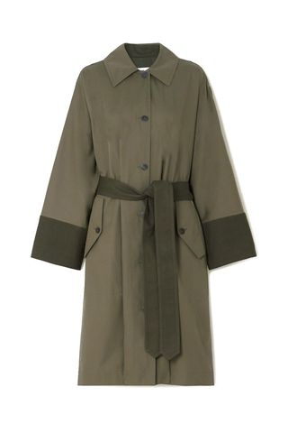 Belted Two-Tone Cotton-Gabardine and Canvas Trench Coat