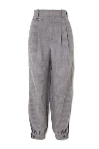 Leather-Trimmed Tapered Pants