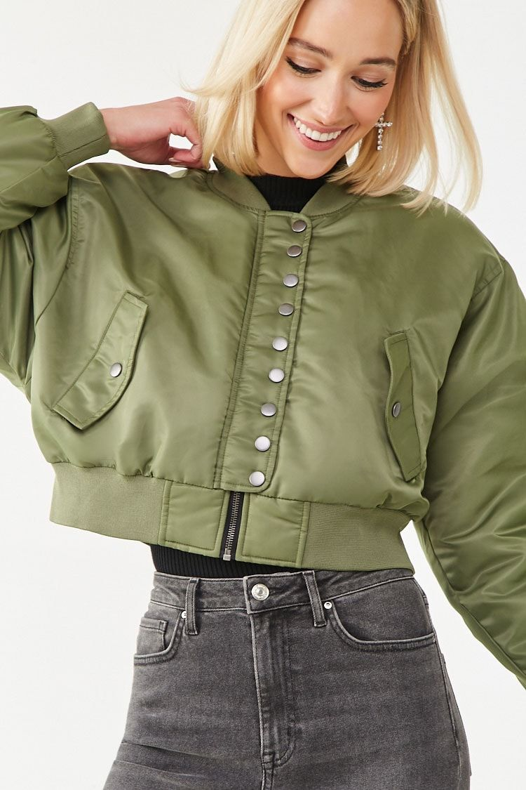 Black Button Up Flap Pocket Puff Sleeve Ruched Crop Denim Jacket Ladies Women