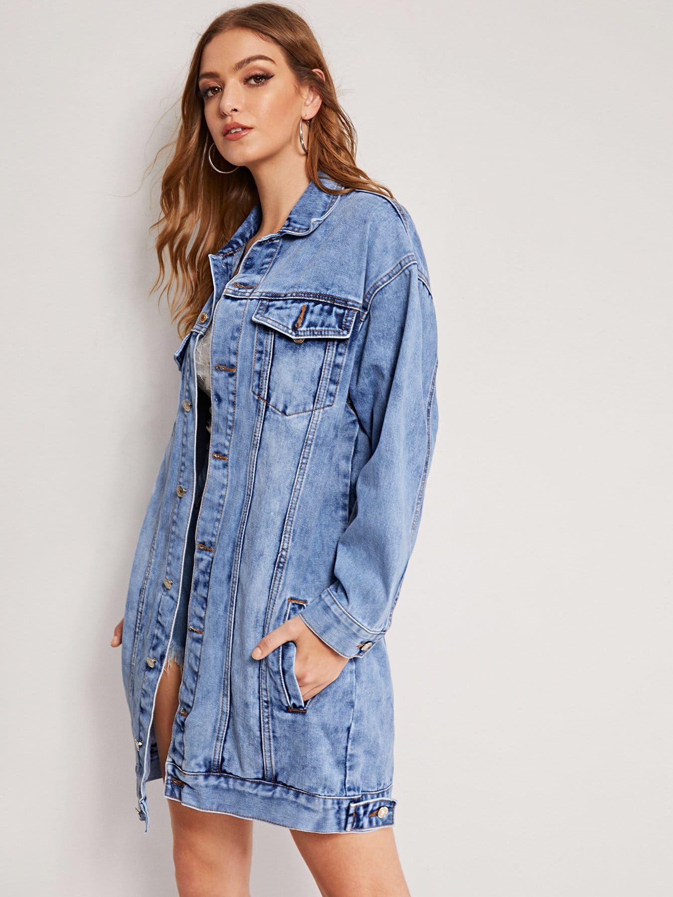 RRP £49.99 New Womens Stonewash Blue Longline Distressed Denim Ladies Jacket