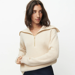 Collection ribbed cashmere half-zip sweater