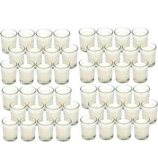 48 Pack White Unscented Clear Glass Filled Votive Candles