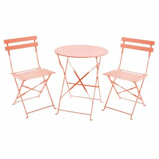 Folding Metal Bistro Set Orange