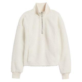 Sherpa Fleece Zip-Up Pullover