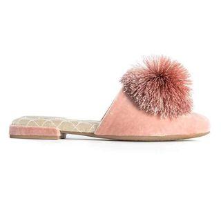 Birdies Pink Velvet Pom Slip-On