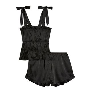 Black Satin Ruched Cami Pajama Set