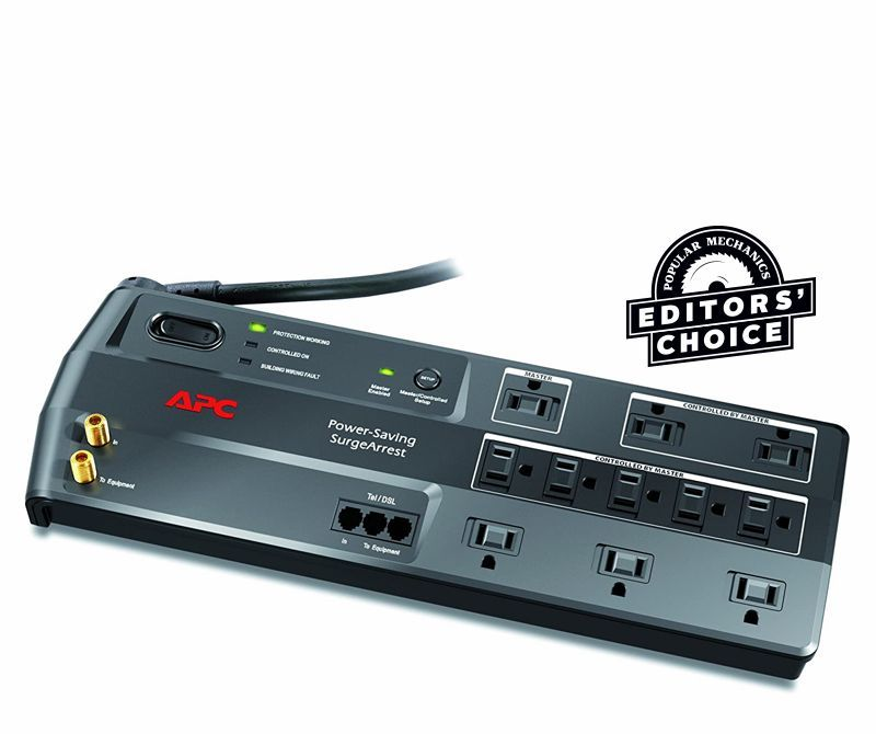 Power Strip Tower Surge Protector Flat Plug 8 Outlets 5 USB Desktop Charging US