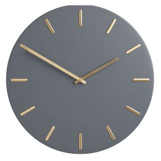 Arne Brass Dial Analogue Wall Clock, 45cm, Fjord Blue