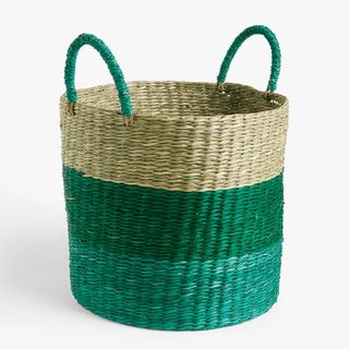 Seagrass Basket, Medium, Green/Blue