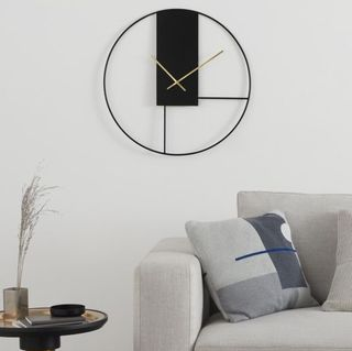 Outline Large Statement Wall Clock 60cm, Matt Black & Brushed Brass