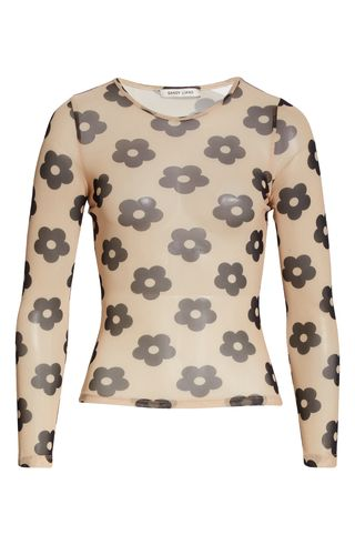 Floral Print Mesh Long Sleeve T-Shirt