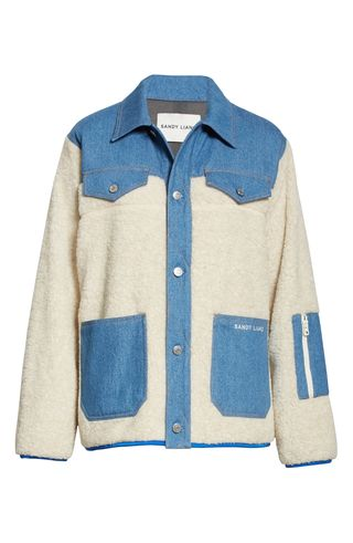 Dorne Denim Panel Faux Fur Jacket